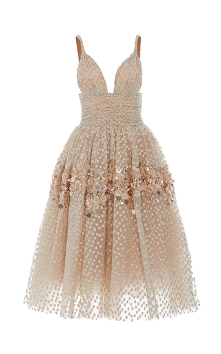 Medium carolina herrera gold embellished tea length gown
