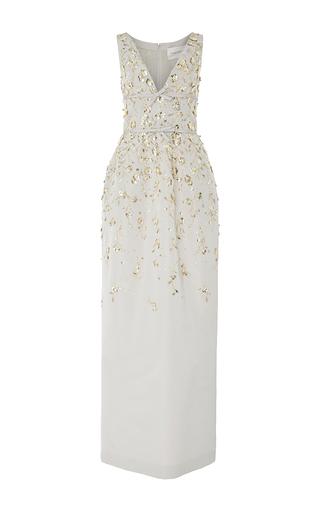 Medium carolina herrera silver short sleeve embroidered gown