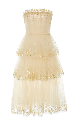Medium carolina herrera nude strapless gold embellished dress