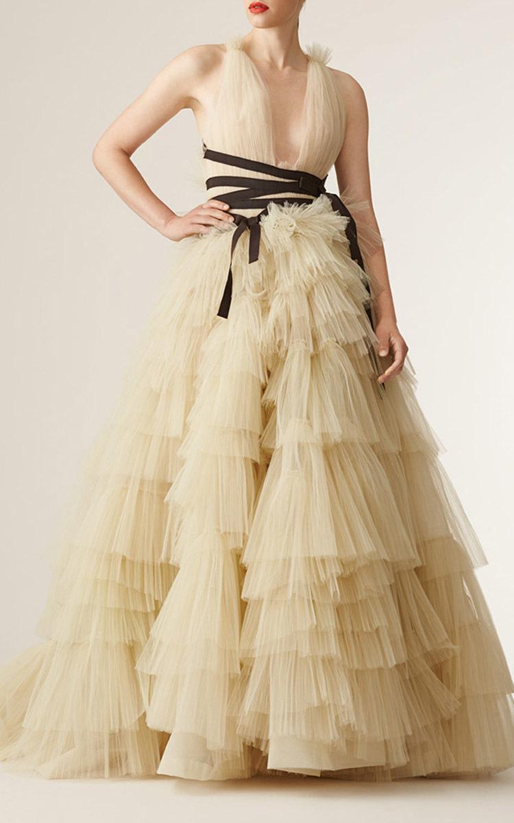 V Neck Tiered Skirt Ball Gown By Carolina Herrera Moda Operandi