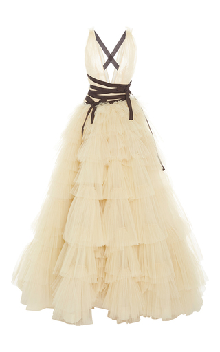 Medium carolina herrera nude v neck tiered skirt ball gown