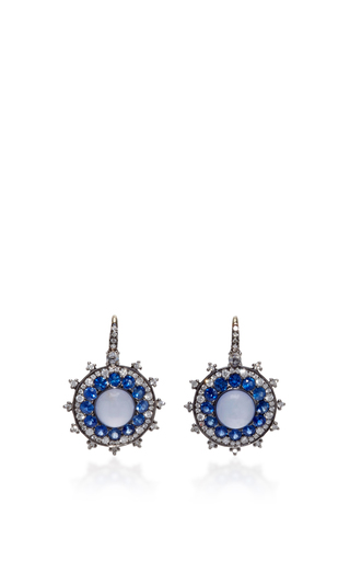 Medium nam cho blue chalcedony and blue sapphire earrings