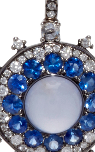 Chalcedony And Blue Sapphire Earrings by NAM CHO Now Available on Moda Operandi