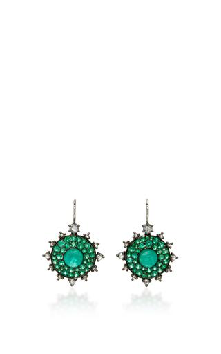 Medium nam cho green emerald bull s eye earrings