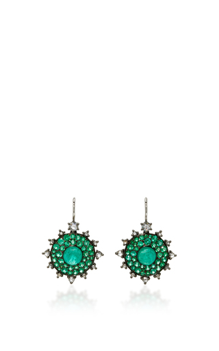 Medium nam cho green emerald bull s eye earrings