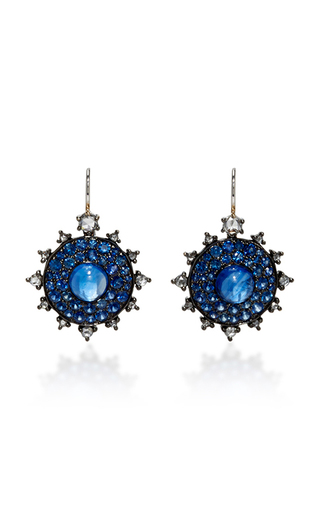 Medium nam cho blue sapphire bullseye earrings