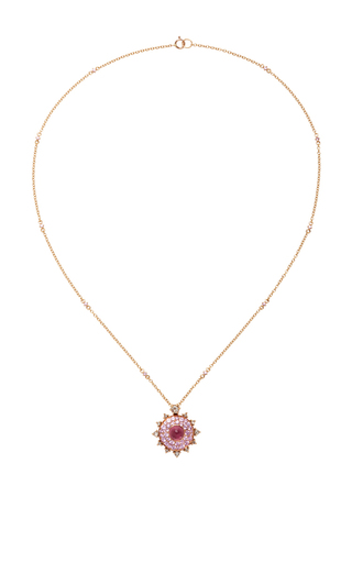 Pink Sapphire Bullseye Necklace by NAM CHO Now Available on Moda Operandi