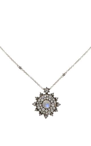 Medium nam cho white moonstone and diamond bullseye necklace