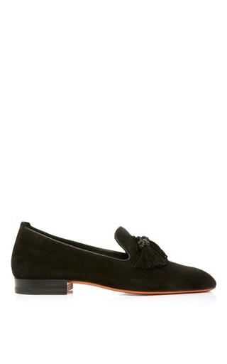Medium santoni black soft suede tassel loafer