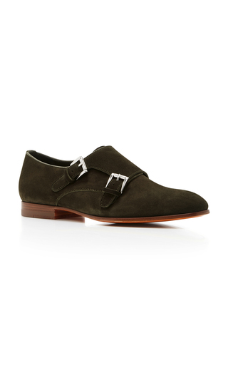 Medium santoni olive low ankle buckle shoe