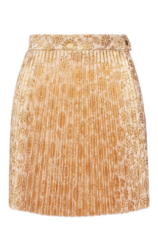 Medium antonio berardi gold floral printed pleated mini skirt