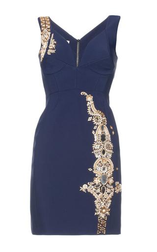 Medium antonio berardi navy embroidered strapless above the knee dress