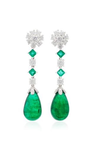 Medium pamela huizenga green custom platinum emerald and diamond earrings