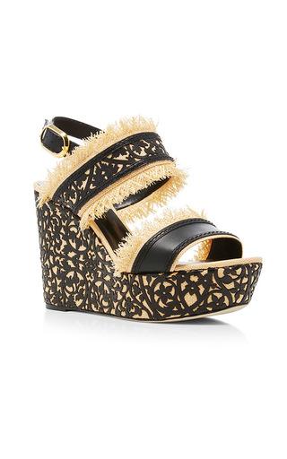 Medium oscar de la renta black talitha wedge sandals