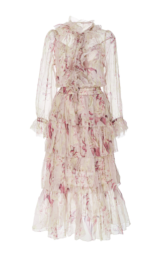 Medium zimmermann floral winsome long sleeve ruffled midi dress
