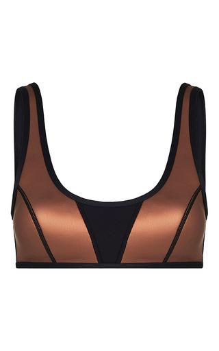 Medium duskii metallic ochre crop bikini top