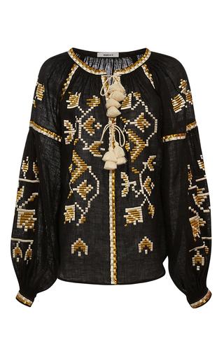 Medium march11 black golden flora long sleeve blouse