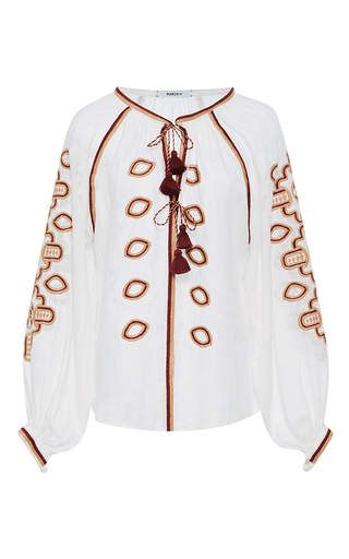 Medium march11 white dark red africa long sleeve blouse