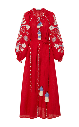 Medium march11 red sunflower embroidered midi dress