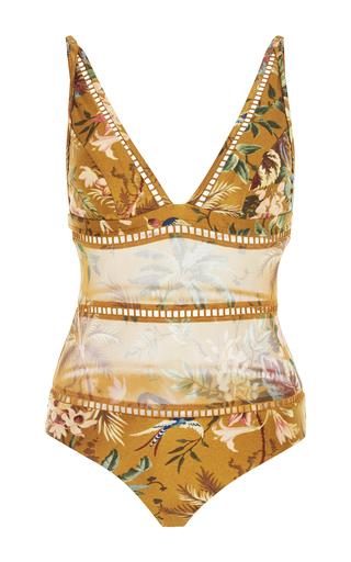Medium zimmermann floral tropical floral plunge swimsuit