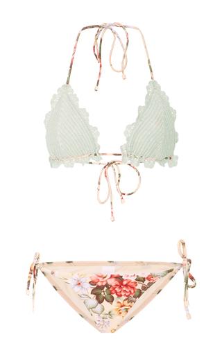 Medium zimmermann multi crocheted floral print bikini
