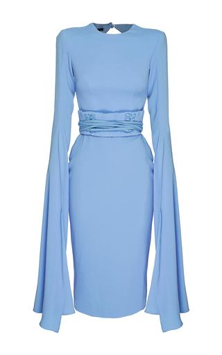 Medium alex perry blue the chloe satin crepe long sleeve dress