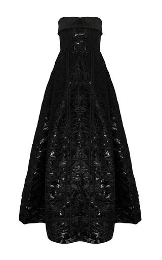 Medium alex perry black the kennedy devore silk duchess eyelet strapless gown