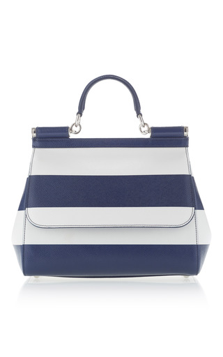 Medium dolce gabbana navy dauphine stripe top handle bag