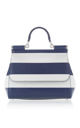 Medium dolce gabbana navy dauphine stripe top handle bag