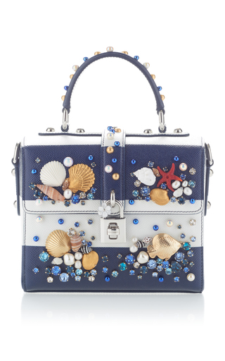 Medium dolce gabbana navy embellished striped tote