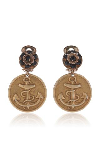 Medium dolce gabbana gold embossed clip earrings