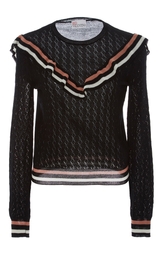 Medium red valentino black ruffle eyelet sweater