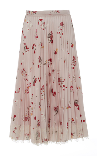 Medium red valentino floral pleated midi skirt
