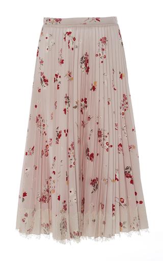Medium red valentino floral pleated midi skirt