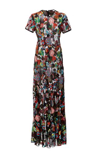 Medium cynthia rowley print embroidered tulle maxi dress