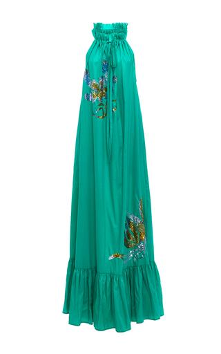 Medium cynthia rowley green embellished halter maxi dress