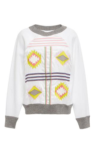 Medium cynthia rowley white white aztec embroidered sweatshirt