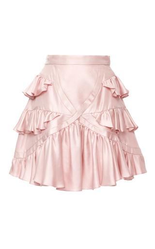 Medium cynthia rowley light pink silk twill ruffle skirt