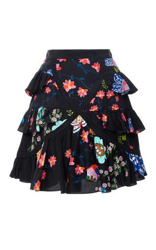 Medium cynthia rowley print printed multi ruffle skirt