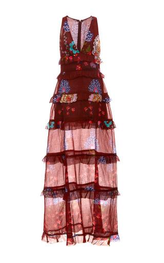 Medium cynthia rowley print maxi tiered ruffle dress