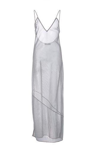 Medium fleur du mal metallic long slip v neck dress