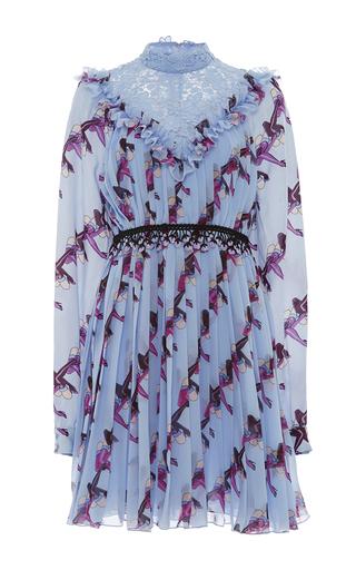 Medium giamba light blue ruffled collar stiletto print dress