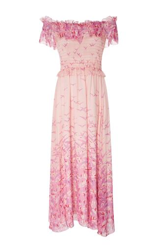 Medium giamba pink off the shoulder bird print midi dress