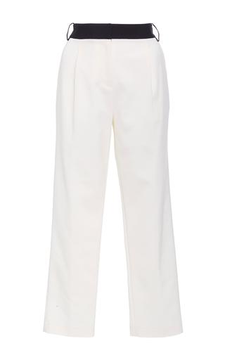 Medium tibi ivory cropped tuxedo pants