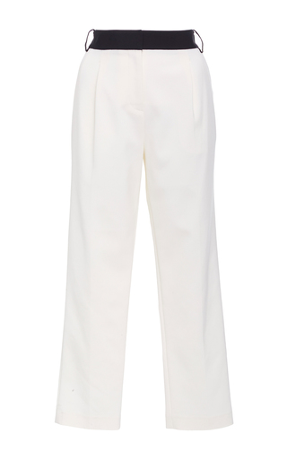 Medium tibi ivory cropped tuxedo pants