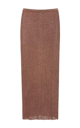 Medium tibi rose gold ribbed midi skirt