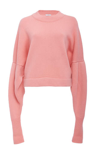 Medium tibi pink drop shoulder crop sweater