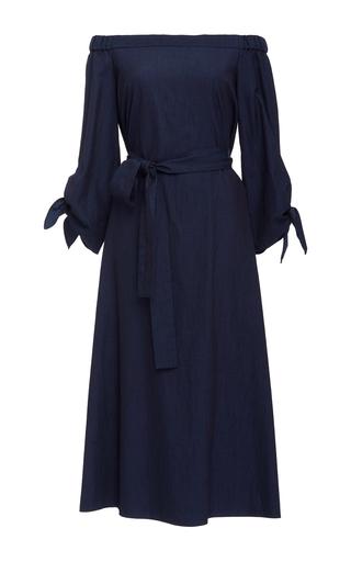 Medium tibi medium wash off the shoulder denim midi dress