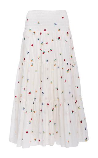 Medium suno white embroidered smocked maxi skirt