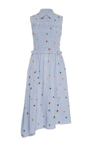 Medium suno blue embroidered smocked shirt dress